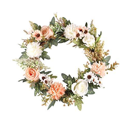 Artificial Rose Flower Wreath, 15 Inch Front Door Welcome Door Wreaths, Floral Wreath Artificial Spring Garland Wreath for Wedding Thanksgiving Front Door