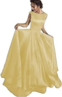 d131fb67ef Long Satin Ball Gown Prom Dresses Scoop Cap Sleeves Backless Formal Evening Gowns  for Women