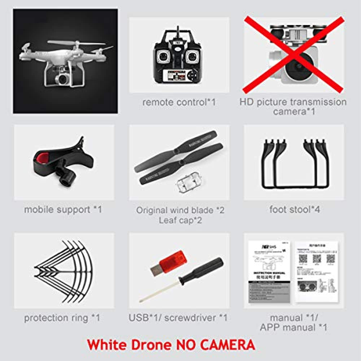 Generic SH5H Dron Quadrocopter FPV Drones with Camera HD Quadcopters with WiFi Camera RC Helicopter Remote Control Toys VS Syma x5c White NO Camera