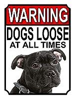 警告犬は常に緩んでいます壁の金属のポスターレトロなプラーク警告ブリキのサインヴィンテージ鉄の絵画の装飾オフィスの寝室のリビングルームクラブのための面白いハンギングクラフト