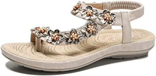 Womens Sandals Summer Bohemian Wedge Shoes Elastic Braided Flat Sandals Clip Toe Comfort Orthopedic Open Toe Sandals Women's Fashion Flat Sandals,Apricot,39
