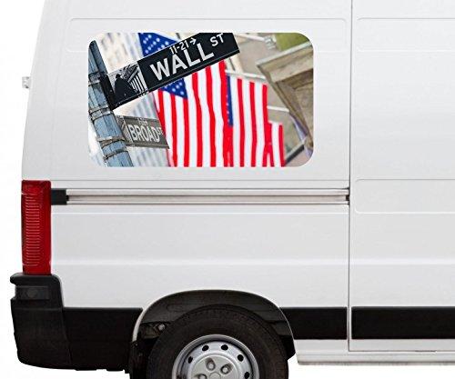 Autoaufkleber Wall Street USA Flagge New York Car Wohnmobil Auto tuning Digital Druck Fenster Sticker LKW Bild Aufkleber 21B728, Größe 3D sticker:ca. 45cmx27cm