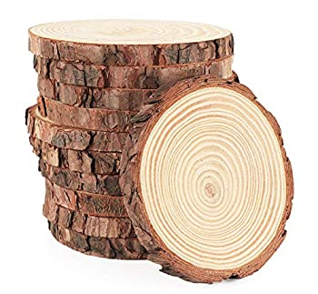 Wood Slices 16Pcs 3.5  -4   Unfinished Wood Rounds Natural Thicken Slab with Bark for Coasters Centerpieces Wedding Rustic Craft Wooden Christmas Ornaments
