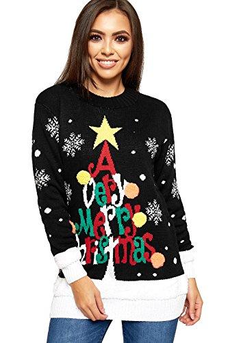 WearAll - Jersey de punto para mujer con alegre diseño navideño de árbol de Navidad, forro largo - 36-56 Negro 38-40