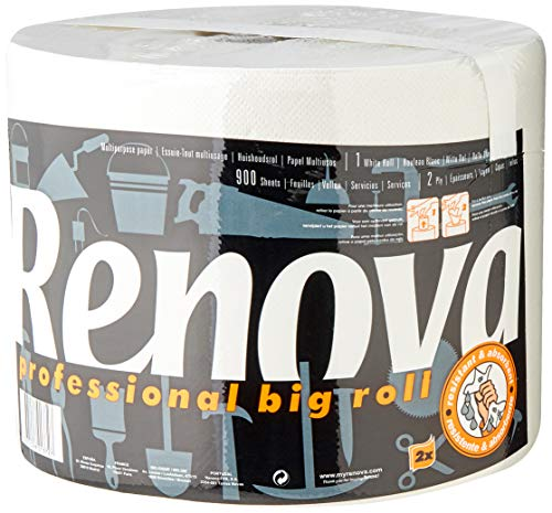 Renova Rollo De Cocina Professional Multiusos - 1 Rollo Extra Resistente y Absorbente equivalente a más de 20 Rollos Estándar (200055022)