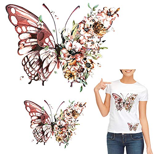 Butterfly Iron On Stickers for T-Shirt, Jackets, Jeans, Bags, Flowers Patches Appliques Retro Design Decals Heat Transfer Vinyl DIY Art Crafts Projects Clothing Decoration Supplies Accessories 2 Pcs