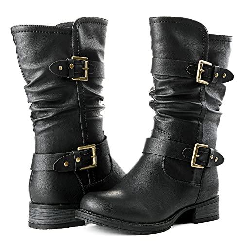 GLOBALWIN Mid-Calf Black Fashion Dress Boots for Women 8M