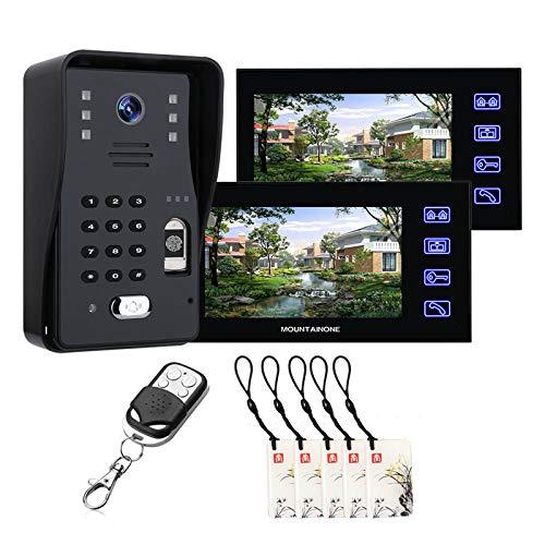 Timbre De Video De 7 Pulgadas, Contraseña De Huellas Dactilares Videoportero RFID, Teléfono, Vigilancia Del Hogar, Intercomunicador, Cámara De Seguridad De Visión Nocturna + 2 Monitores