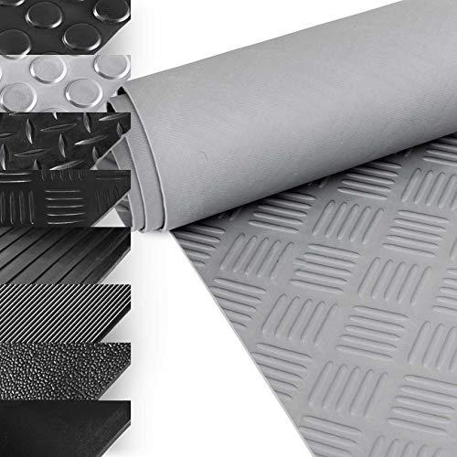 ANRO Alfombrilla de goma de bajo olor, diseño de chapa estriada, 100 cm de ancho, 3 mm de ancho, color gris, 50 x 100 cm
