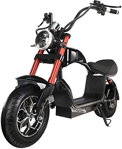 motor scooters Electric Scooter for Adults 800W Motor Fat Tire Citycoco Scooters Up to 20 Mph & 16 Miles 48V 12Ah Lithium Removable Battery Lowboy Scooter Harley Electric Moped with Front & Rear Hydraulic Brakes