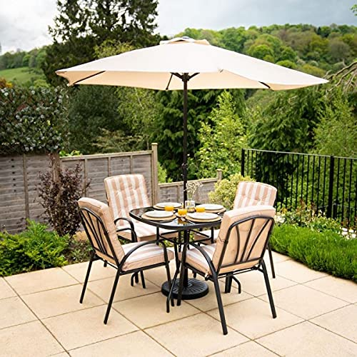 HECTARE Hadleigh Garden Outdoor Patio Table/Chair/Parasol Dining Furniture Set (4 Seater, Beige)