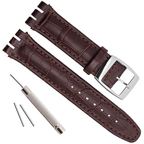 Correa de reloj de repuesto de acero con, piel de cocodrilo y vaca (19 mm, marrón)