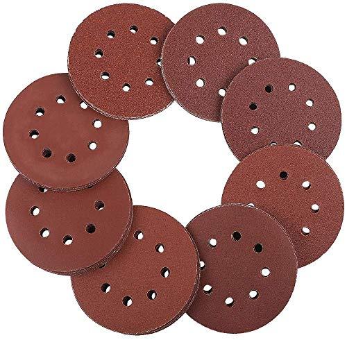 Schleifscheiben 125mm Klett - ZesNice 100 Stück Exzenterschleifer Schleifpapier Set 8 Loch je 20 x 60/80/100/120/240 Körnung Exzenter Rund Papier 125 mm