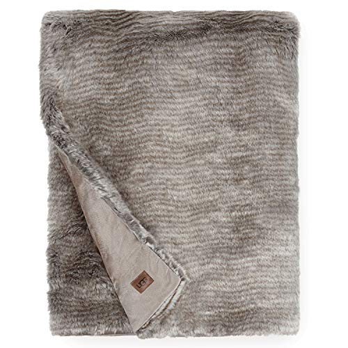 UGG Kylan Throw Blanket, Light Sand/Charcoal