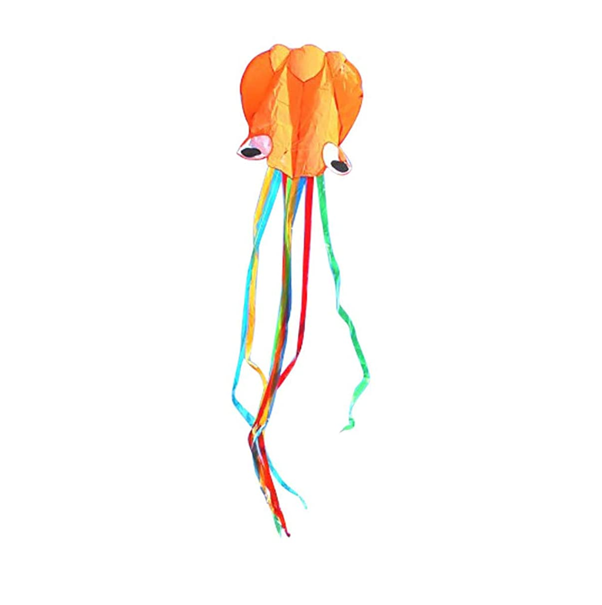 Oillian Kite Huge Octopus Kite Beautiful Large Easy Flyer Kite Fun Sports Kite Beach Kit 31 Inches for Kids Adults (Orange)