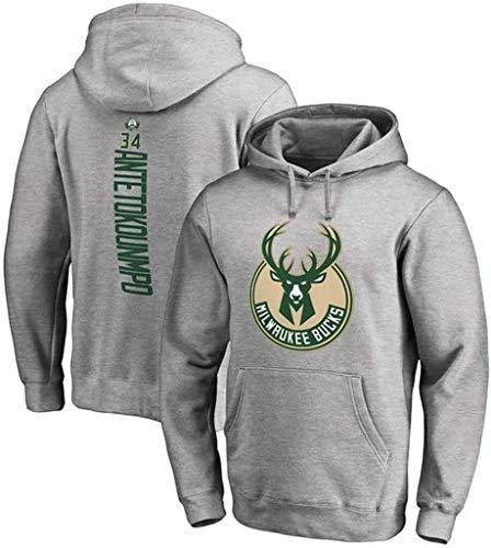 Sudadera con Capucha de Baloncesto Milwaukee Bucks Giannis Antetokounmpo Jersey Sudadera Sudadera Sudadera Hip Hop Hombres Camiseta de Manga Larga (Size : XX-Large)