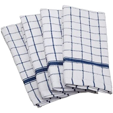 DII Cotton Terry Windowpane Dish Towels, 16 x 26  Set of 4, Machine Washable and Ultra Absorbent Kitchen Bar Towels-Blue