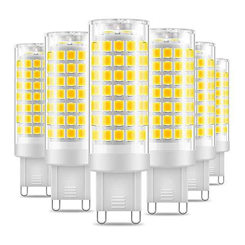 Eterbiz G9 LED Lampe, 7W, Ersatz für G9 60W Halogenlampen, 6000K kaltweiss, G9 LED Leuchtmittel Nicht Dimmbar, 650Lumen, 220-240V, 360 Grad Winkel, G9 Energiesparlampen, 6er Pack