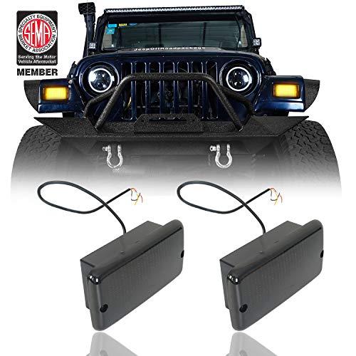 u-Box White DRL Turn Signals w/Amber LEDs Indicator Blinkers for 1997-2006 Jeep Wrangler TJ