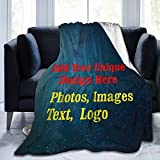 Custom Blanket Personalized Blanket with Photos Text Customized Picture Throw Blanket for Adult Kid Birthday Christmas Halloween New Year Mothers Fathers Valentines Day Gift, Starry Sky, 50'x40'