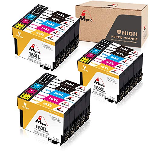 Mipelo 16 XL Compatible Cartucce Epson 16XL 16,Confezione da 15 per Epson Workforce WF-2510 WF-2630 WF-2750 WF-2760 WF-2010 WF-2530 WF-2660 WF-2520 WF-2650 WF-2540 (6 Nero,3 Ciano,3 Magenta,3 Giallo)