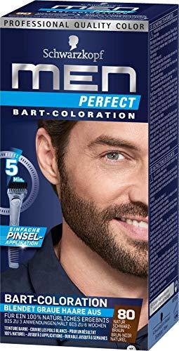 SCHWARZKOPF MEN PERFECT Bart, Haarfarbe 80 Natur Schwarz Braun, 3er Pack, (3 x 30ml)