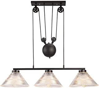 ZfgG Vintage Dining Tables Chandeliers,Glass Pulley Pendant Lamp Antique Pulley Rise and Fall Light Kitchen Island Dining Room E27 Indoor Lighting