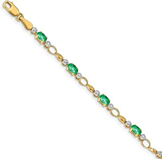 Bonyak Jewelry 14K White Gold Girl 6x4 Oval Genuine Emerald-May