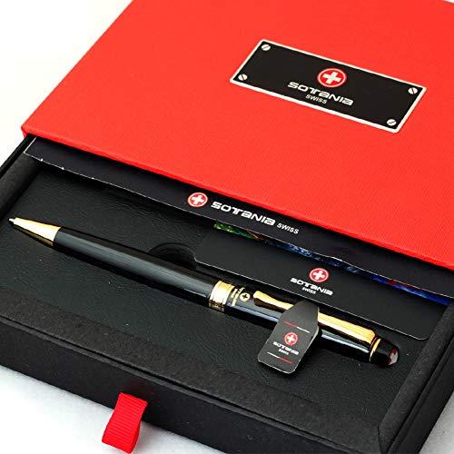Free Engraving - Personalized Sotania Swiss Expert Black Ballpoint Pen, Medium Point, Roller pens, Groomsmen Gift, Free Custom Engraved Gifts for Men, Women (Black)