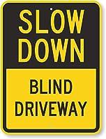 安全標識-減速-ブラインドドライブウェイ。インチメタル錫標識UV保護および耐候性、通知警告標識