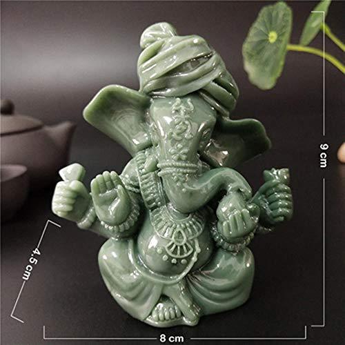 Ethan Ganesha standbeeld Boeddha Olifant God sculpturen 9Cm/3.55Inch Man-Made Jade Stone Ornament Bloempot Home Decoratie Boeddha standbeelden