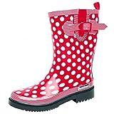 Bockstiegel® Dorin Damen - Modische Gummistiefel   36-42 Rubber Boots   Regenstiefel   Polka Dots   Gepunktet, Farbe:Red/Multi;Größe:37 / UK 4