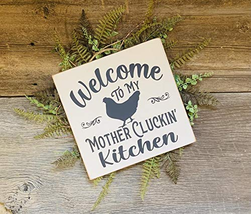 Tamengi Welcome to My Mother Cluckin' Kitchen, Kitchen Sign, Chicken Decor, Kitchen Decor, Funny Kitchen Decor, Funny Kitchen Sign, Farm Kitchen Wood Handing Sign, Made in The USA
