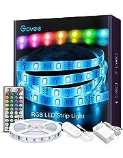 Ruban à LED 5M Govee Bande LED 5050 RGB Multicolores Améliorée, Kit de Bande LED Lumineuse avec Télécommande Décoration d'Armoire pour Maison Chambre Cuisine Mariage Soirée, Découpable