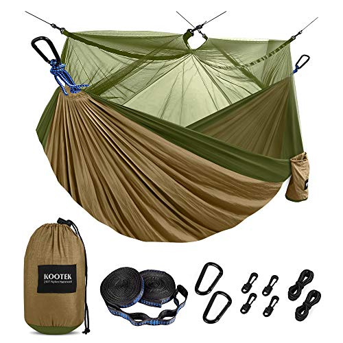 Kootek Camping Hammock with Mosquito Net Double amp Single Portable Hammocks Parachute Lightweight Nylon with Tree Straps for Outdoor Adventures Backpacking Trips Beige amp Olive Small