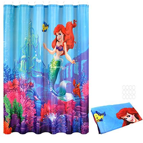 OTOTEC Duschvorhang, Unterwasser-Meerjungfrau, Arielle, Familie, Badezimmer, wasserdicht, Polyester, mit 12 Haken, 180 x 180 cm