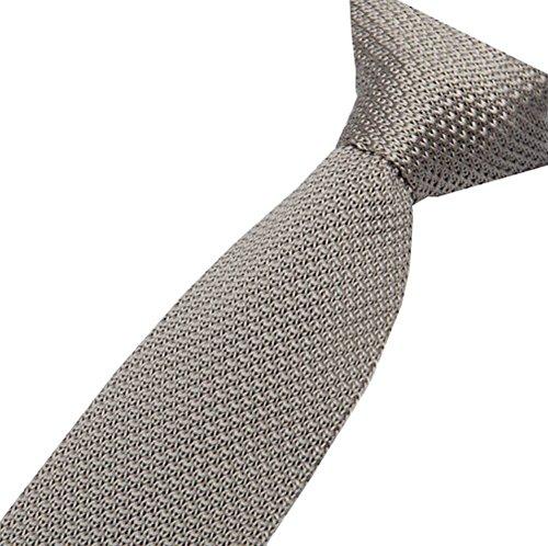S.R HOME Cravate mince pour hommes gris clair Unis bout carré de 5cm