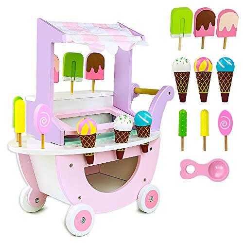 ❄HELADO DE MADERA MAGNÉTICA: Juguete helado de madera con diseño magnético, las bolas de hielo se fijan muy bien en la bocina y en la cucharas de moldes helado.Este carrito helados juguete son regalos originales para niños. ❄CARRO DE MADERA: El carri...