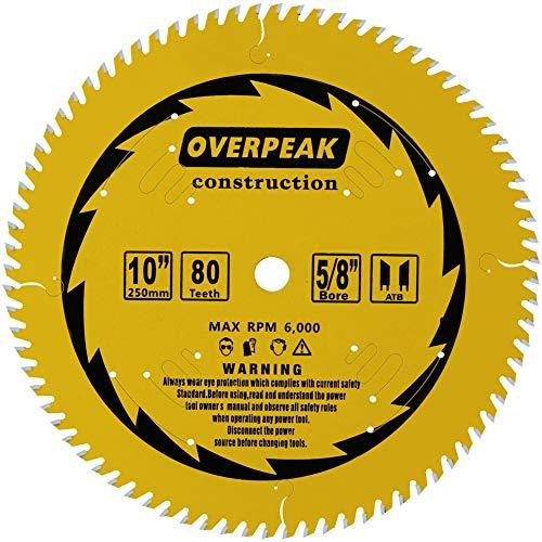 Overpeak 10 inch 80 Tooth ATB Finish Hard & Soft Wood Saw Blade General Wood Cutting Saw Blade Circular Blade with 5/8