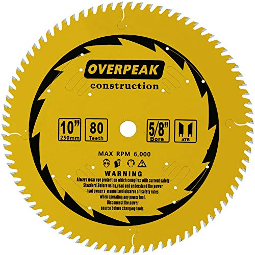 Overpeak 10 inch 80 Tooth ATB Finish Hard & Soft Wood Saw Blade General Wood Cutting Saw Blade Circular Blade with 5/8