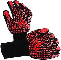 Yelun Grillhandschuhe Ofenhandschuhe Topfhandschuhe Backhandschuhe Qualität Hitzebeständig EN407 Beglaubigte - Eine Größe passt Fast Allen - 1 Paar (Rote No.3)