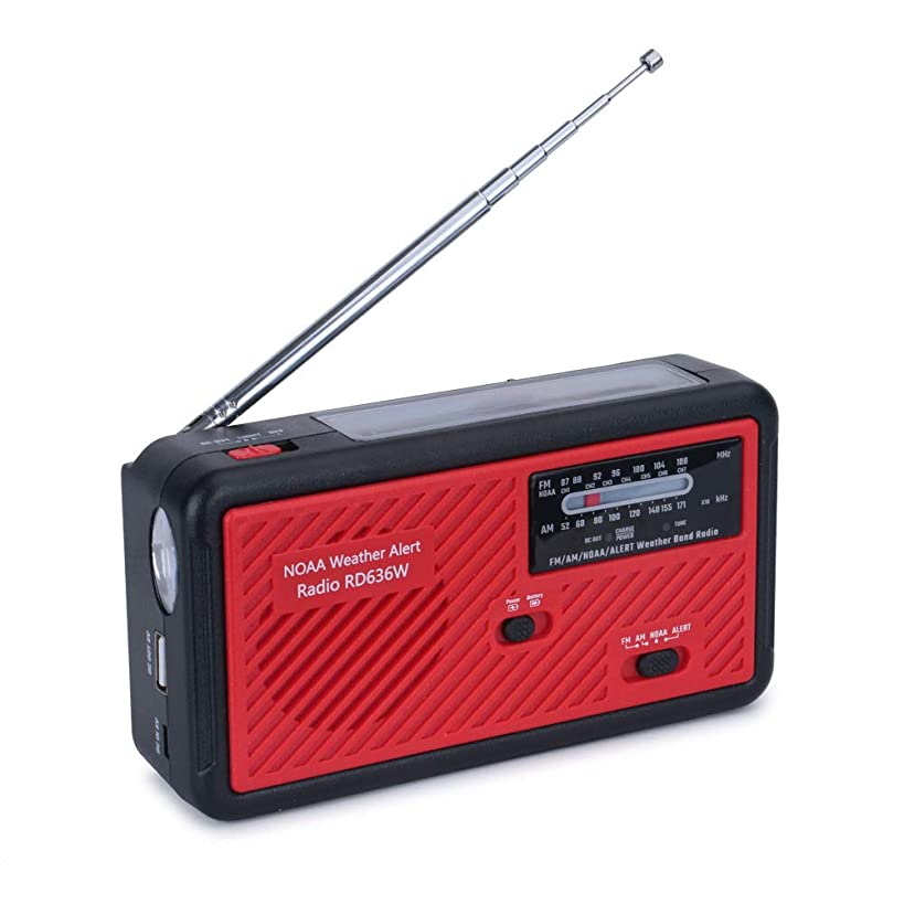 Portable Emergency Solar Weather Radio Hand Crank Self Powered AM/FM/NOAA Radios, with LED Flashlight, SOS Alarm, Reading Lamp and 1000mAh Power Bank for Emergency Indoor Outdoor (Red & Black)