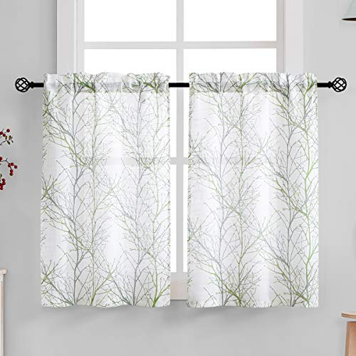 Fmfunctex White Kitchen Curtains Windows Tree Branch Print Semi-Sheer Tiers for Bathroom Small Café Curtain Set, Grey/Green 24' Length, 2 Panels