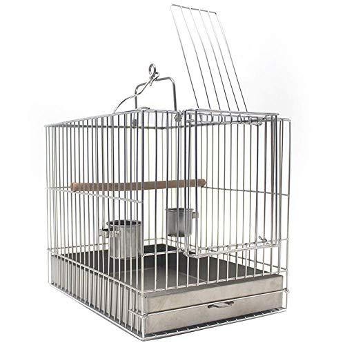 ZJDK Jaula para pájaros de Viaje, Jaula de baño para pájaros Colgante, aviario para Loros de Acero Inoxidable con Taza de alimentación y Soporte para Percha, L