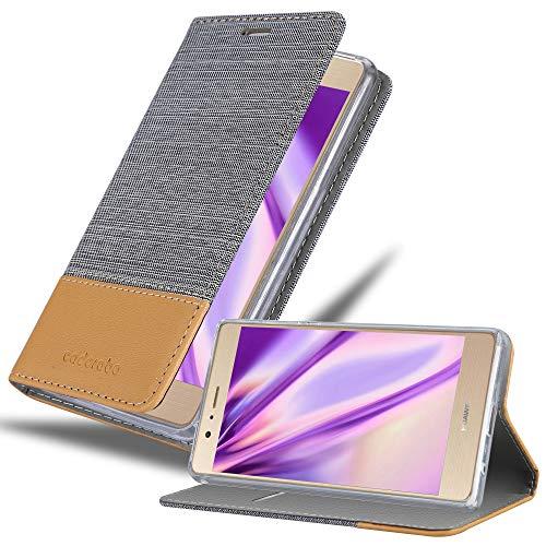 Hülle für Huawei P8 MAX - Hülle in HELL GRAU BRAUN – Handyhülle mit Standfunktion und Kartenfach im Stoff Design - Case Cover Schutzhülle Etui Tasche Book