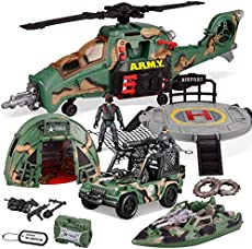 JOYIN 10-in-1 Jumbo Military Combat Helicopter Toy Set with Military Vehicle Toys and Military Action Figures, Realistic Lights and Sounds, for Combat Toys Imaginative Play
