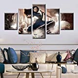 KALINDA MODI Canvas Wall Art 5 Piece Hanging Print for Home Office, Living Room, Bedroom, Kitchen - Canvas Prints Horror