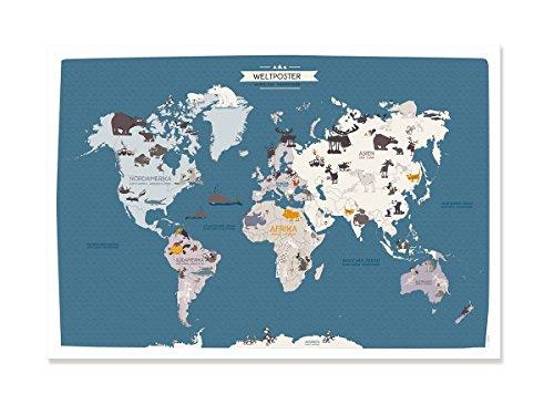 Cats on appletrees Cartel Mapa Mundial Animales 70x100