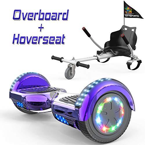 COLORWAY Hoverboard 6,5' 700W con Ruedas de Flash LED, Altavoz Bluetooth y LED, Autoequilibrio de Scooter Eléctrico
