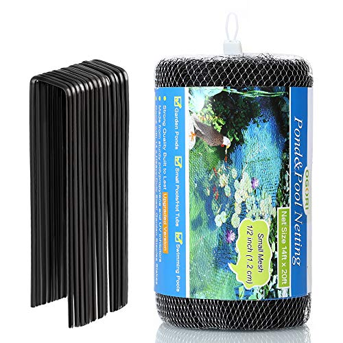 OGORI 14 x 20 ft Pond Netting with 14 Heavy-Duty Steel Garden Staples Stakes,Reusable and Doesn't...